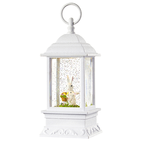 RAZ Imports Spring Water Lanterns 11.75 Bunnies in Basket Lighted Water Gazebo